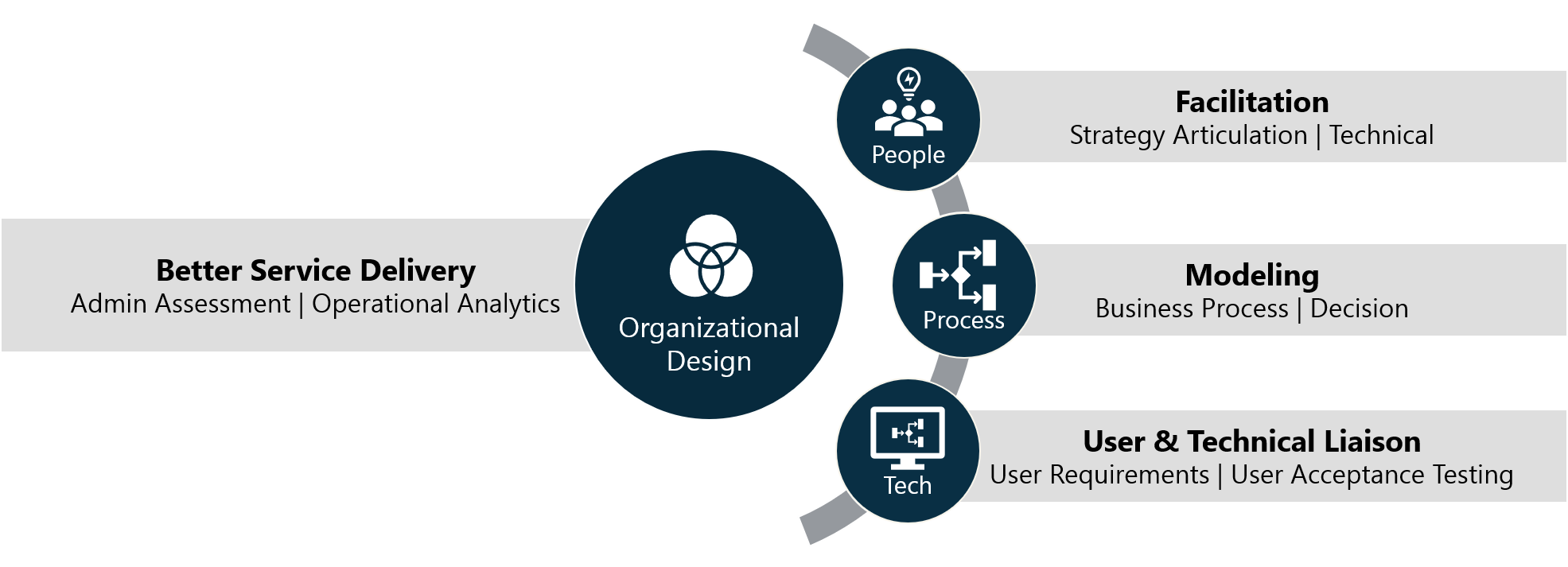 Organizational Design: Better Service Delivery - Admin Assessment | Operational Analytics. People: Facilitation - Strategy Articulation | Technical. Process: Modeling - Business Process | Decision. Tech: User & Technical Liaison - User Requirements | User Acceptance Testing