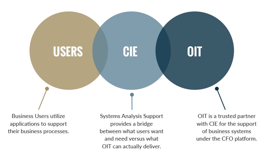 Users: Business Users utilize applications to support their business processes.CIE: Systems Analysis Support provides a bridge between what users want and need versus what OIT can actually deliver. OIT: OIT is a trusted partner with CIE for the support of business systems under the CFO platform.